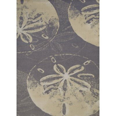 Island Breeze Sand Dollar Cove Charcoal Area Rug Rug Size: 53 x 72