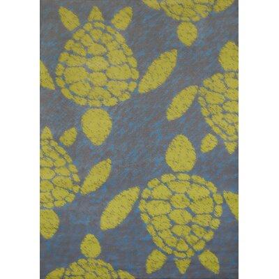 Island Breeze Sea Turtle Lime Area Rug Rug Size: 53 x 72
