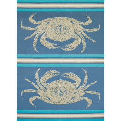 Island Breeze Stone Crab Blue Area Rug Rug Size: 53 x 72