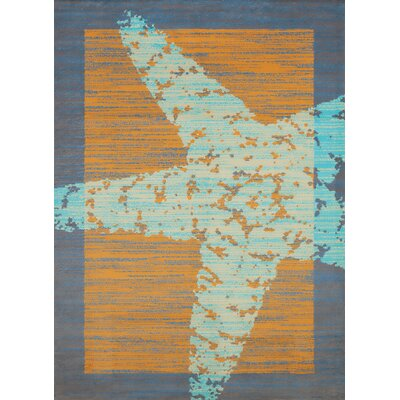 Island Breeze Star Fish Border Blue/Orange Area Rug Rug Size: 53 x 72