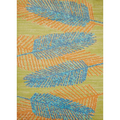Island Breeze Breezy Days Aqua/Orange Area Rug Rug Size: 27 x 311