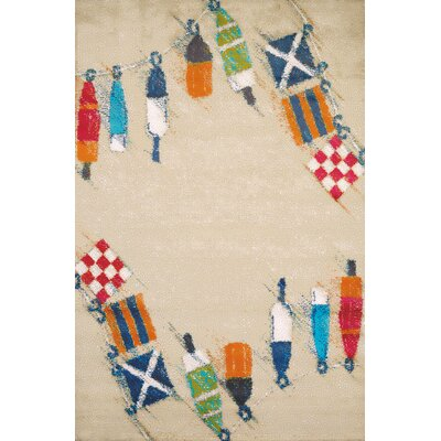Island Breeze Set Sail Sand Area Rug Rug Size: 53 x 72