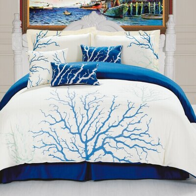Coral 7 Piece Comforter Set Size: King, Color: Blue and White