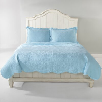 Wave Quilt Set Size: King, Color: Aqua