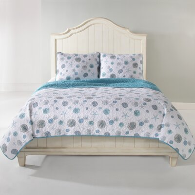 Sand Dollar Quilt Set Color: Blue, Size: King
