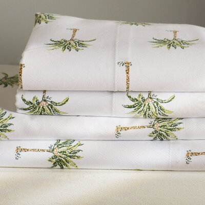 Palm Tree 300 Thread Count Cotton Sheet Set Size: Queen