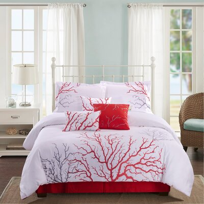 Coral 7 Piece Comforter Set Size: Queen, Color: Coral