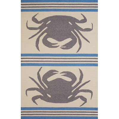 Crab Shack Hand-Woven Gray/Blue Indoor/Outdoor Area Rug Rug Size: 5 x 76