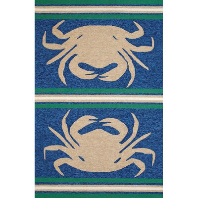 Crab Shack Hand-Woven Taupe/Blue Indoor/Outdoor Area Rug Rug Size: 5' x 7'6