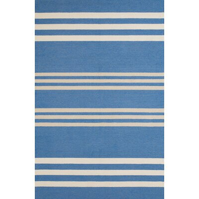 Parallel Hand-Woven Blue/White Indoor/Outdoor Area Rug Rug Size: 56 x 7
