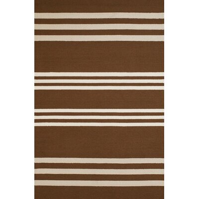 Parallel Hand-Woven Chocolate/White Indoor/Outdoor Area Rug Rug Size: 7'10