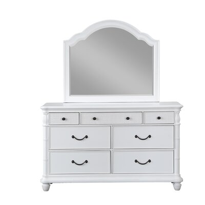 Isle Of Palms 7 Double Dresser with Mirror Color: Antique White