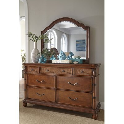 Isle Of Palms 7 Double Dresser with Mirror Color: Brown