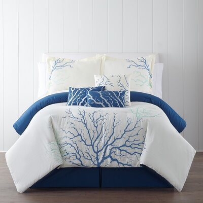 Coral 7 Piece Comforter Set Size: King, Color: Blue