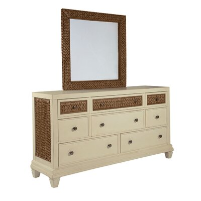 Bridge Hampton Seagrass 8 Drawer Dresser with Mirror