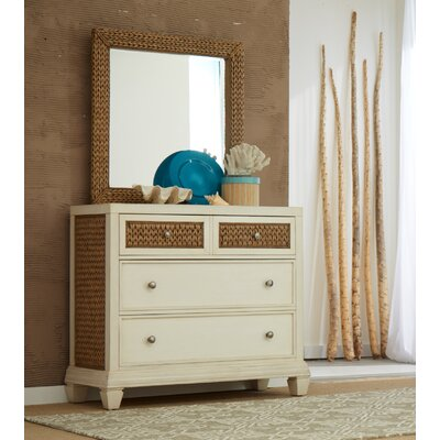 Bridge Hampton Seagrass 4 Drawer Dresser with Mirror