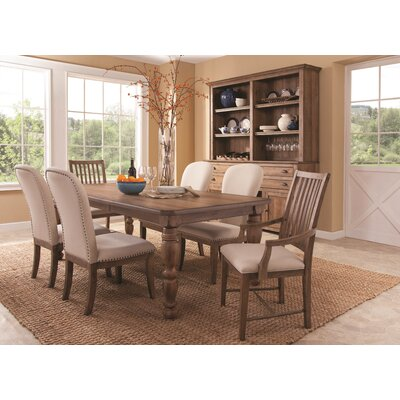 South Mountain Farmhouse Upholstered 7 Piece Extendable Dining Set