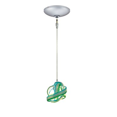 Evisage VI 1-Light Foyer Pendant Shade Color: Blue/Green, Finish: Satin Nickel