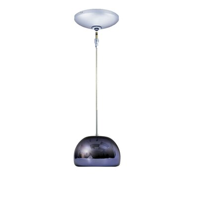 Evisage VI 1-Light Bowl Pendant Finish: Chrome, Shade Color: Purple
