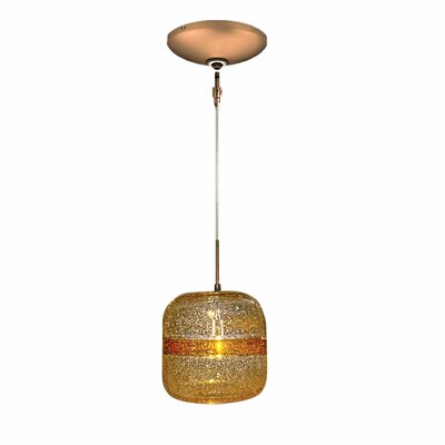 Evisage VI 1-Light Mini Pendant Finish: Bronze, Shade Color: Amber