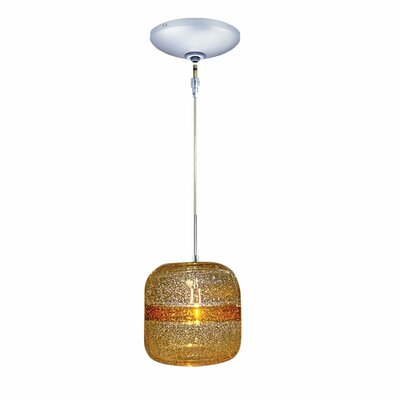 Evisage VI 1-Light Mini Pendant Finish: Chrome, Shade Color: Amber