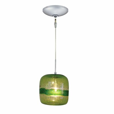 Evisage VI 1-Light Mini Pendant Finish: Satin Nickel, Shade Color: Green