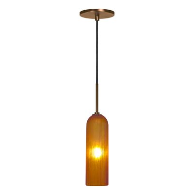 Evisage VI 1-Light Mini Pendant Shade Color: Amber, Finish: Bronze