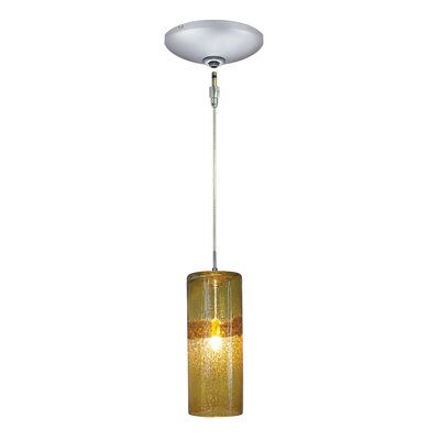 Evisage VI 1-Light Mini Pendant Finish: Satin Nickel, Shade Color: Amber