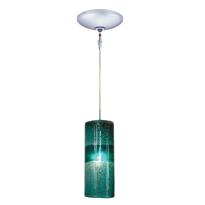Evisage VI 1-Light Mini Pendant Finish: Chrome, Shade Color: Teal