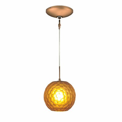 Evisage VI 1-Light Globe Pendant Finish: Bronze, Shade Color: Amber