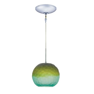 Evisage VI 1-Light Globe Pendant Finish: Chrome, Shade Color: Blue/Green