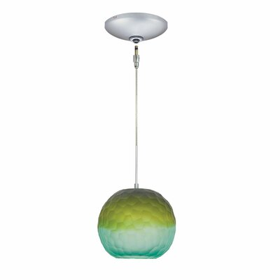 Evisage VI 1-Light Globe Pendant Shade Color: Blue/Green, Finish: Satin Nickel