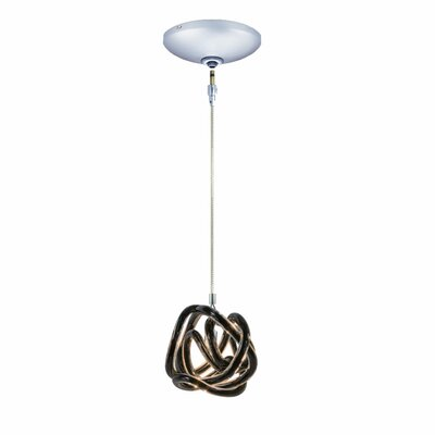 Evisage VI 1-Light Foyer Pendant Finish: Chrome, Shade Color: Black