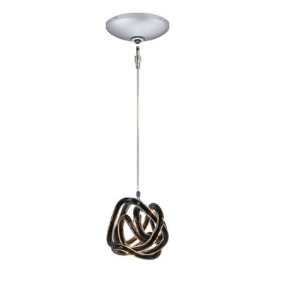 Evisage VI 1-Light Foyer Pendant Finish: Satin Nickel, Shade Color: Black