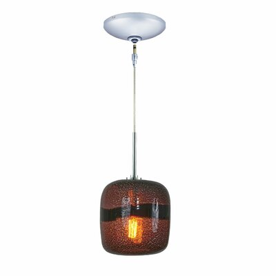 Evisage VI 1-Light Mini Pendant Finish: Chrome, Shade Color: Purple