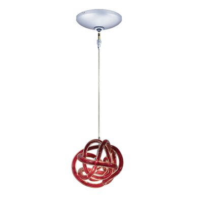 Evisage VI 1-Light Foyer Pendant Finish: Chrome, Shade Color: Red