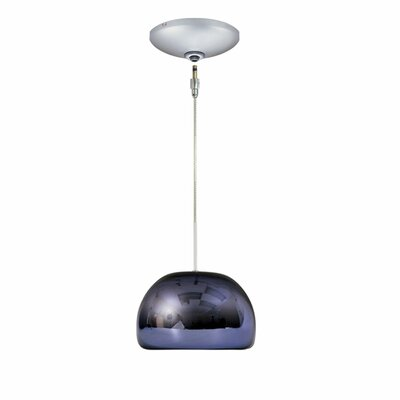 Evisage VI 1-Light Bowl Pendant Finish: Satin Nickel, Shade Color: Purple