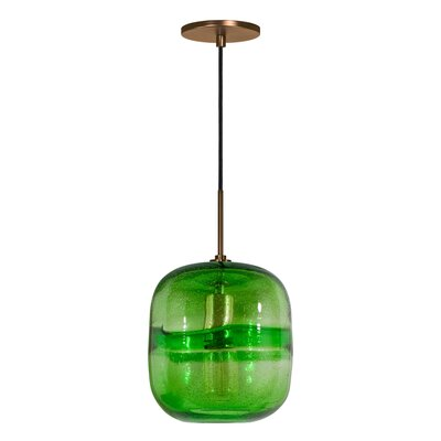 Evisage VI 1-Light Mini Pendant Finish: Bronze, Shade Color: Green