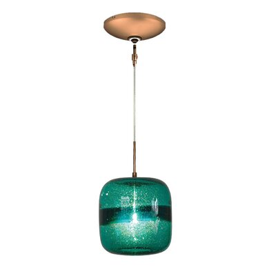 Evisage VI 1-Light Mini Pendant Finish: Bronze, Shade Color: Teal