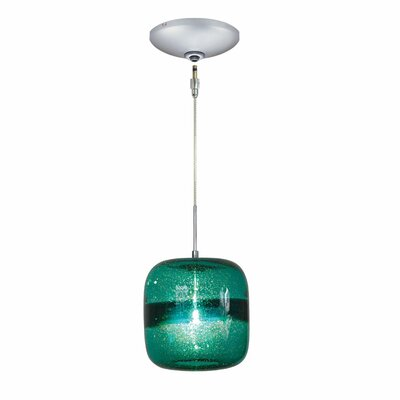 Evisage VI 1-Light Mini Pendant Finish: Satin Nickel, Shade Color: Teal