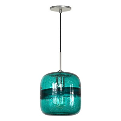 Evisage VI 1-Light Mini Pendant Finish: Brushed Nickel, Shade Color: Teal