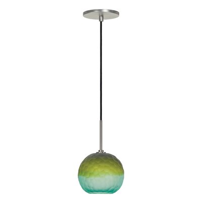 Evisage VI 1-Light Globe Pendant Finish: Brushed Nickel, Shade Color: Blue/Green