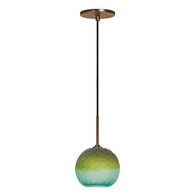 Evisage VI 1-Light Globe Pendant Finish: Bronze, Shade Color: Blue/Green