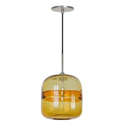 Evisage VI 1-Light Mini Pendant Finish: Brushed Nickel, Shade Color: Amber