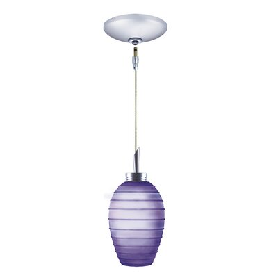 Chelsea 1-Light Pendant and Canopy Kit Finish: Chrome, Shade Color: Cobalt Blue