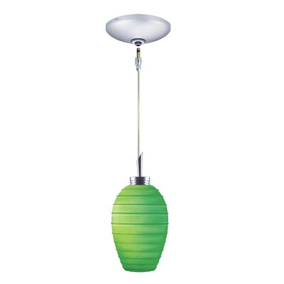 Chelsea 1-Light Pendant and Canopy Kit Finish: Chrome, Shade Color: Emerald