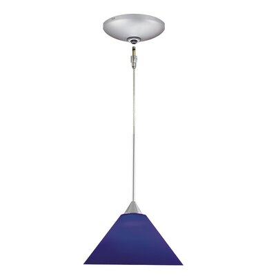 Selma 1-Light Track Pendant Shade Color: Blue, Finish: Satin Chrome
