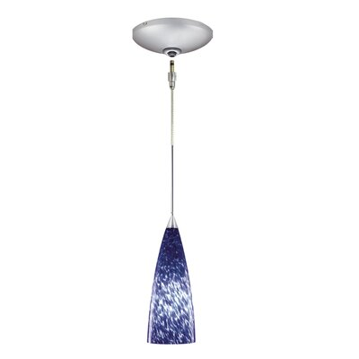 Etta 1-Light Track Pendant Finish: Satin Chrome, Shade Color: Blue Frit
