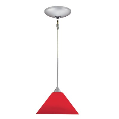 Selma 1-Light Track Pendant Finish: Satin Chrome, Shade Color: Red