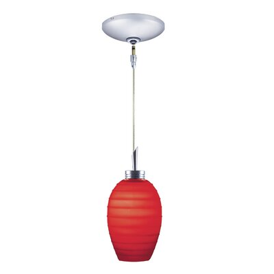 Chelsea 1-Light Pendant and Canopy Kit Finish: Chrome, Shade Color: Red